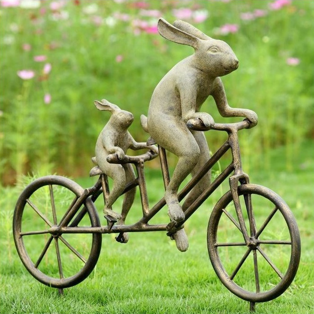 Tandem Bicycle Bunnies Garden Statue | 33862 | SPI Home