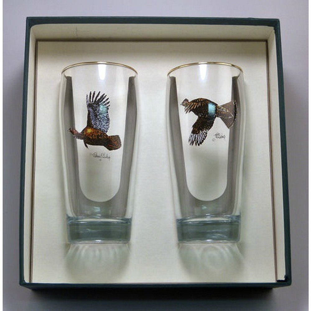 "Turkey and Grouse Beer Glass Set   ""Gamebirds""   Richard Bishop   2043GAM"