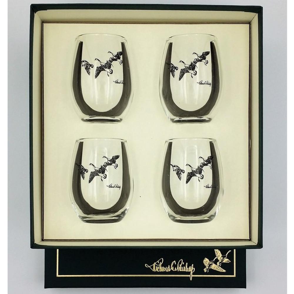 """Duck Stemless Wine Glass Set   """"Third Federal Duck Stamp""""   Richard Bishop   2079THI"""