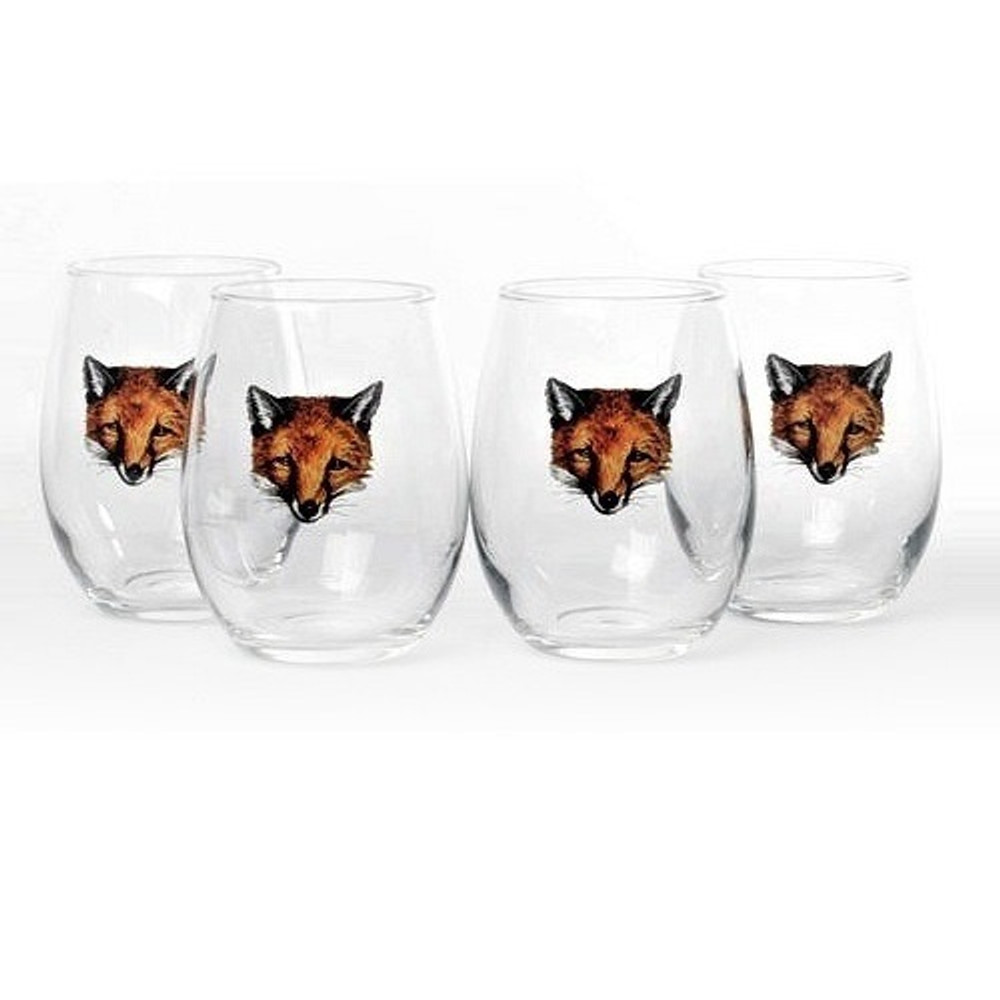 "Fox Stemless Wine Glass Set   ""Fox Mask""   Richard Bishop   2079FOX"