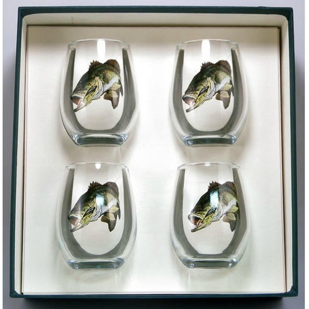 Bass Fish Stemless Wine Glass Set   Richard Bishop   2079BAS