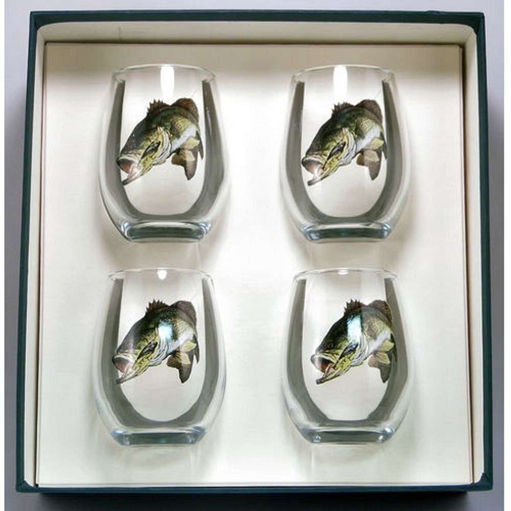 Bass Fish Stemless Wine Glass Set | Richard Bishop | 2079BAS