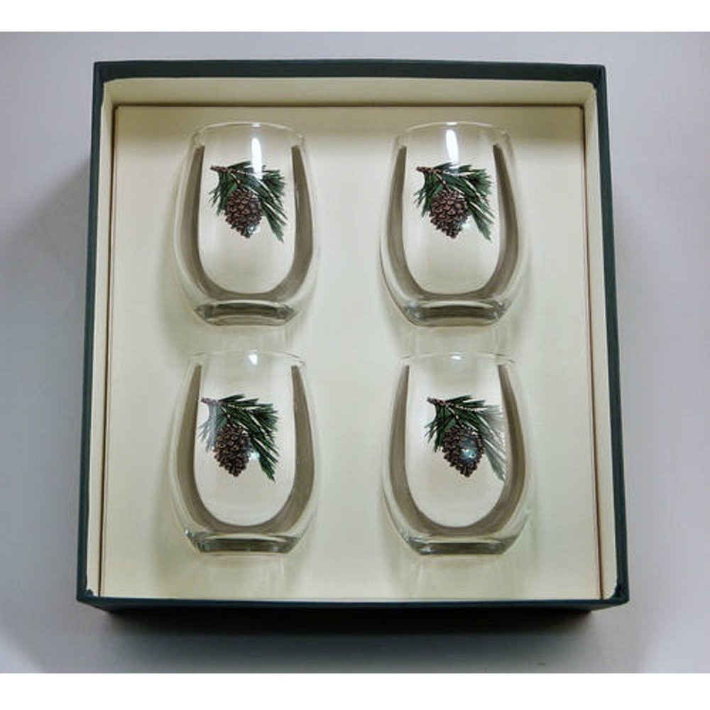 Pine Cone Stemless Wine Glass Set   Richard Bishop   2079PCO
