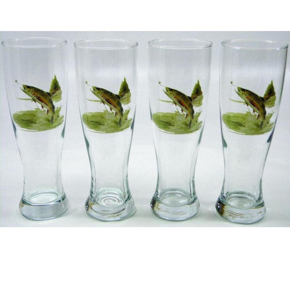 Trout Fish Pilsner Glass Set   Richard Bishop   2041TRO