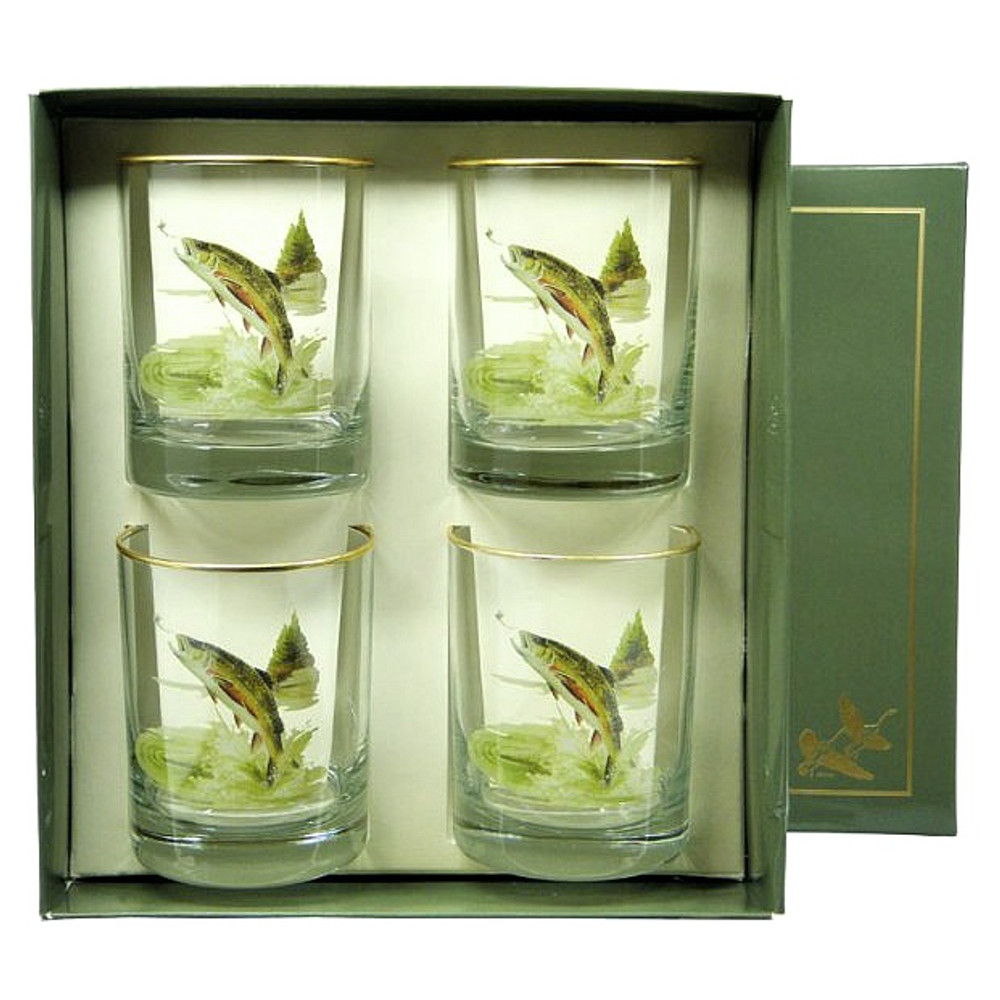 Trout Fish Double Old Fashioned Glass Set | Richard Bishop | 2026TRO