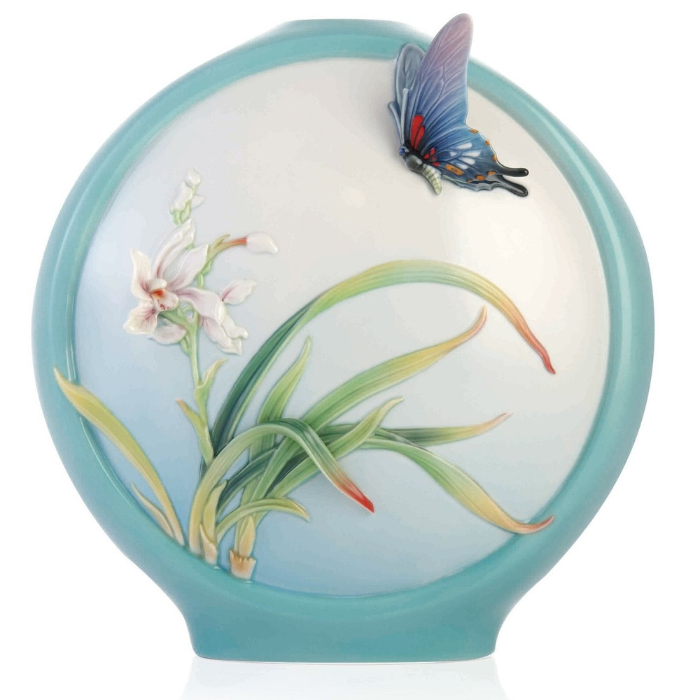 Butterfly and Orchid Sculptured Porcelain Vase   FZ03354   Franz Collection