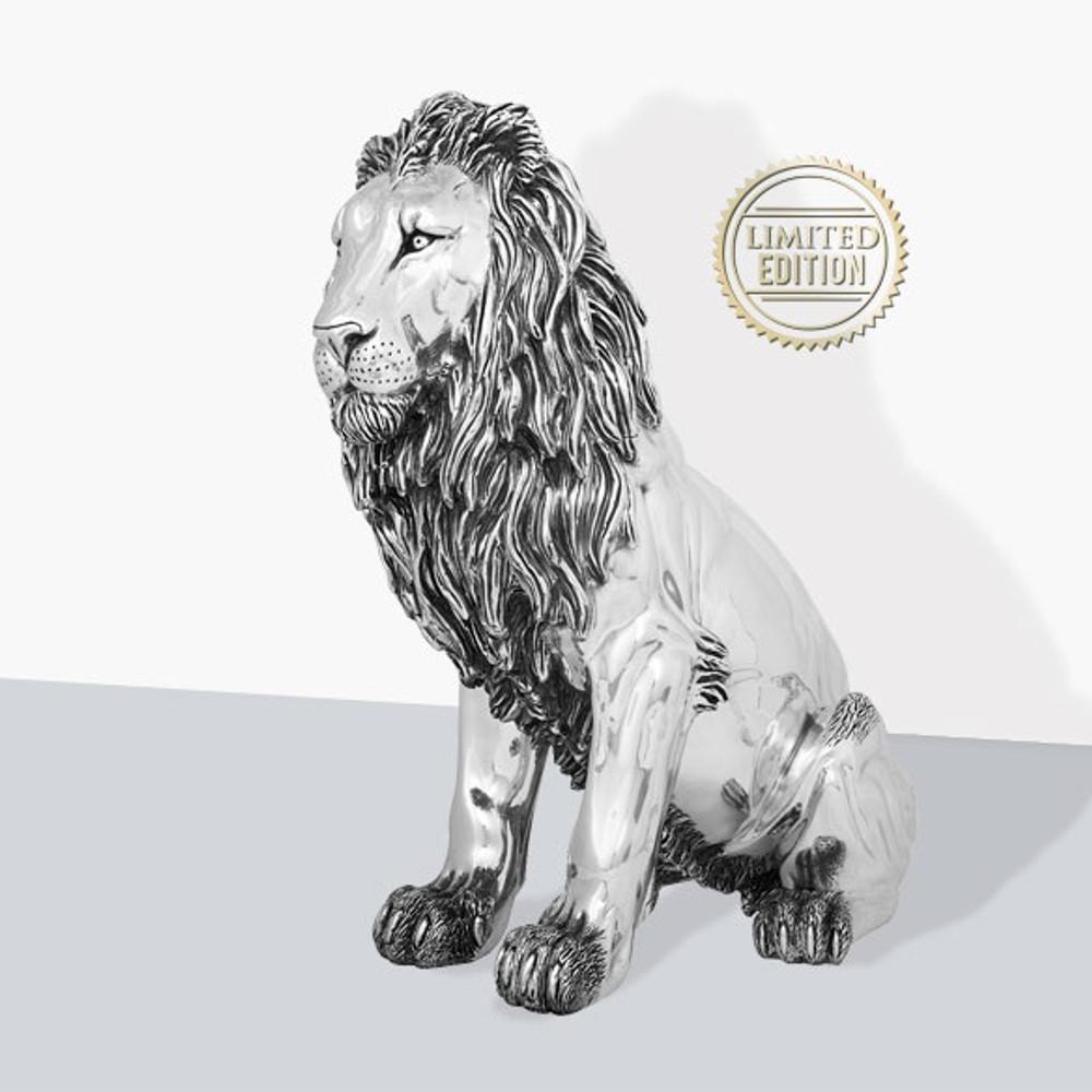 Lion Silver Plated Sculpture   7514   D'Argenta