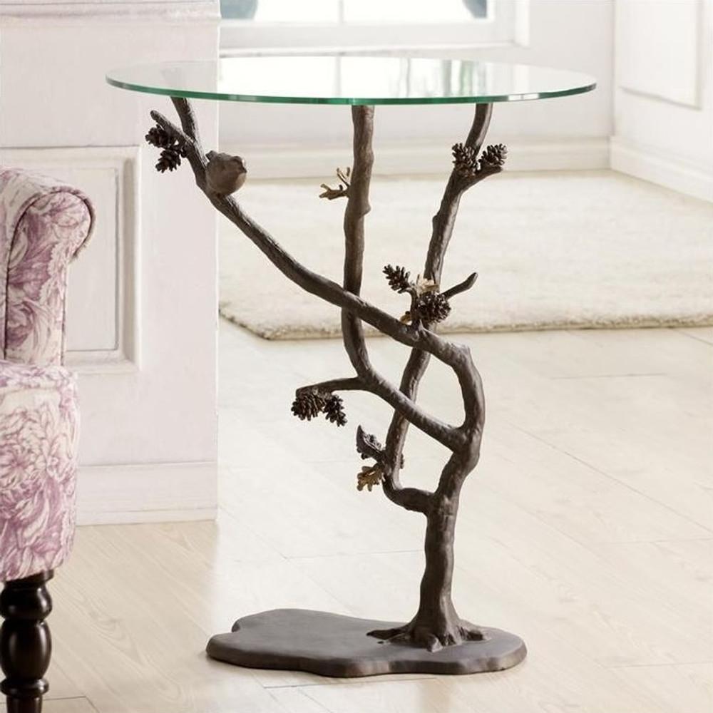 Bird & Pinecone Table | 33491 | SPI Home