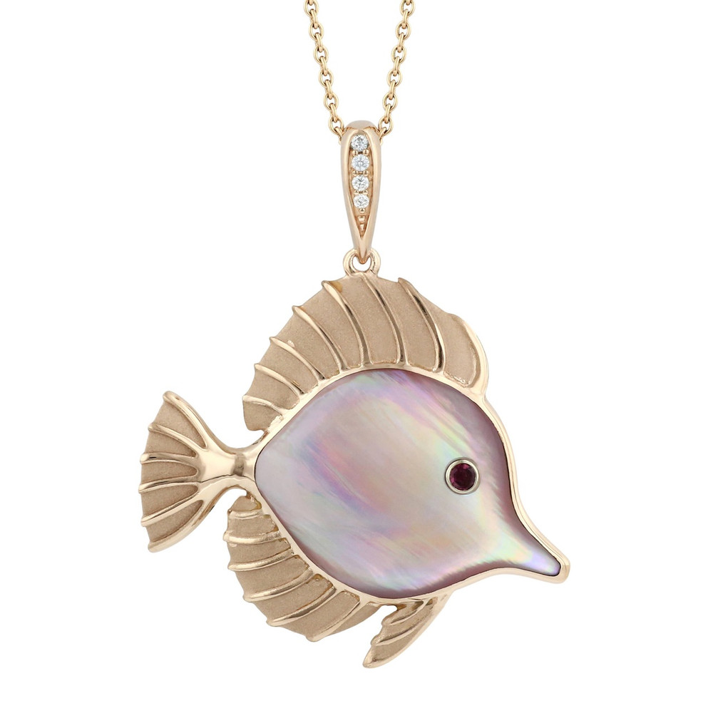Fish 14K Rose Gold Pendant with Pink Mother of Pearl Inlay Necklace | Kabana Jewelry | NPCF663RMP