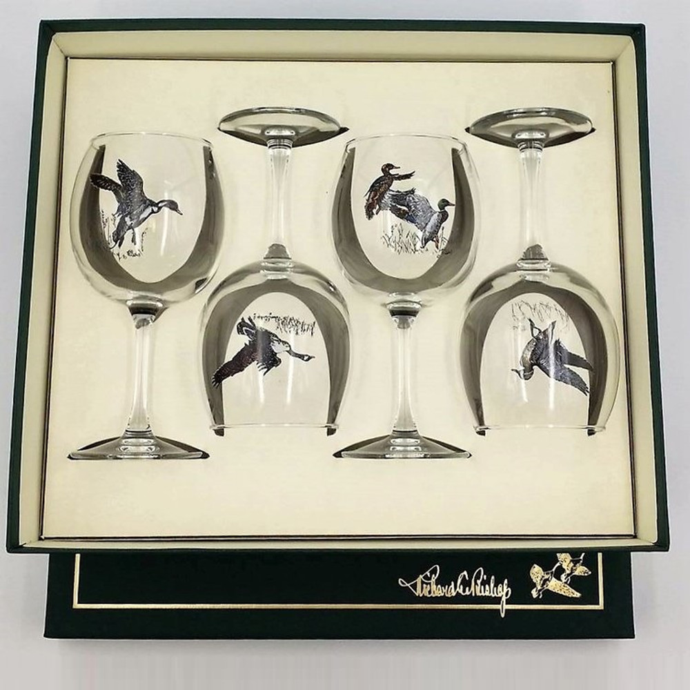"Duck Wine Glass Set | ""Waterfowl"" 