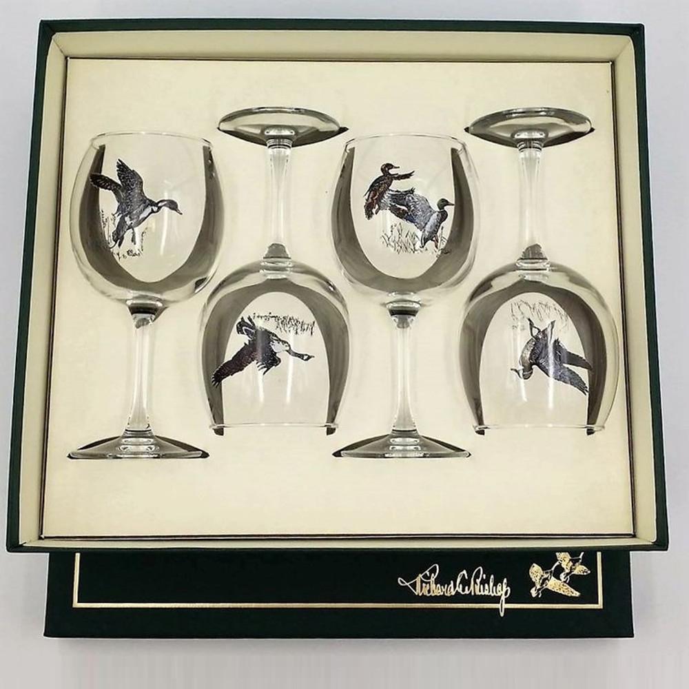 "Duck Wine Glass Set   ""Waterfowl""   Richard Bishop   2045WAT"