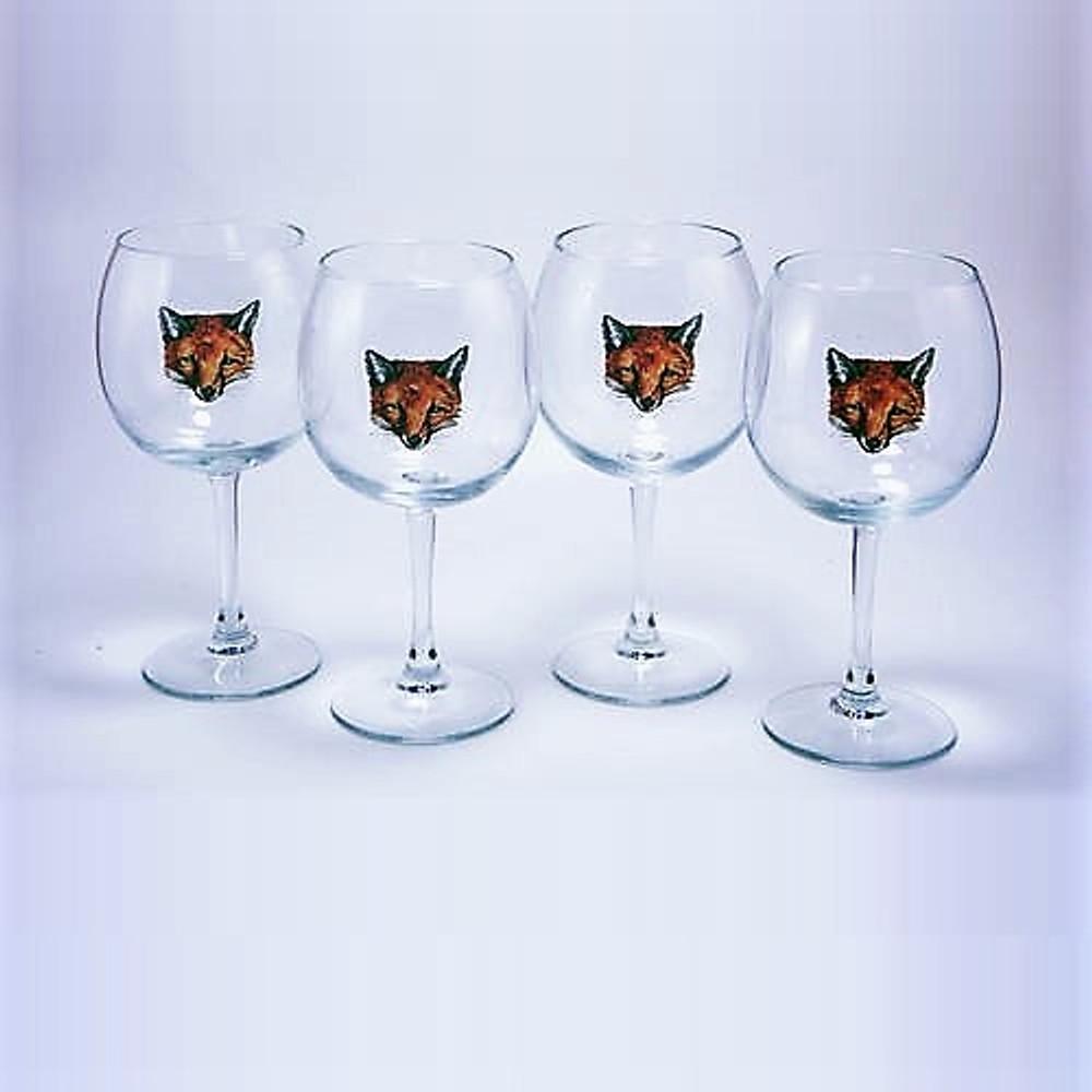 "Fox Wine Glass Set | ""Fox Mask"" | Richard Bishop | 2045FOX"