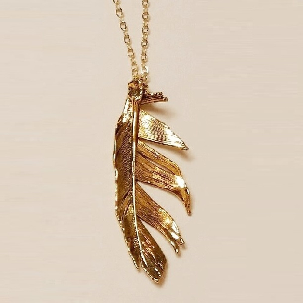 Antique Gold Feather Necklace | Still Life Jewelry | JNFTHO2-AG