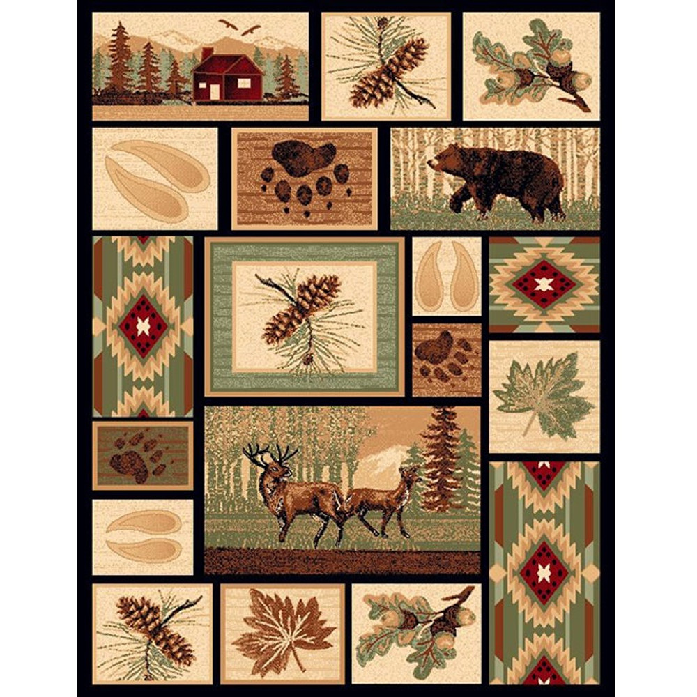 Bear and Deer Lodge Area Rug | American Cover | L-386