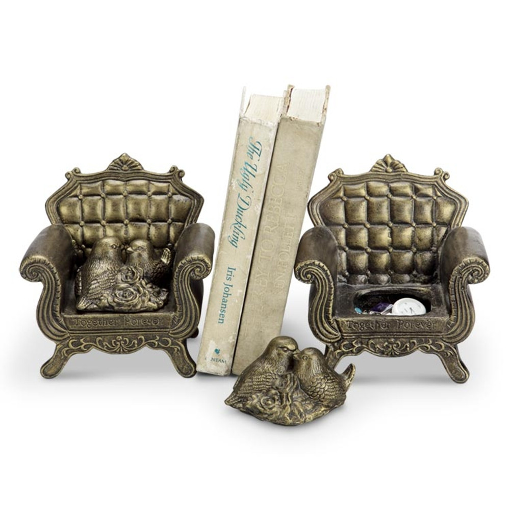 """Bird Pair Jewelry Box Bookends """"Together Forever"""" 