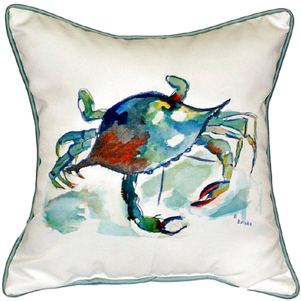 Crab Multicolor Indoor Outdoor Pillow 22x22 | Betsy Drake | BDZP105