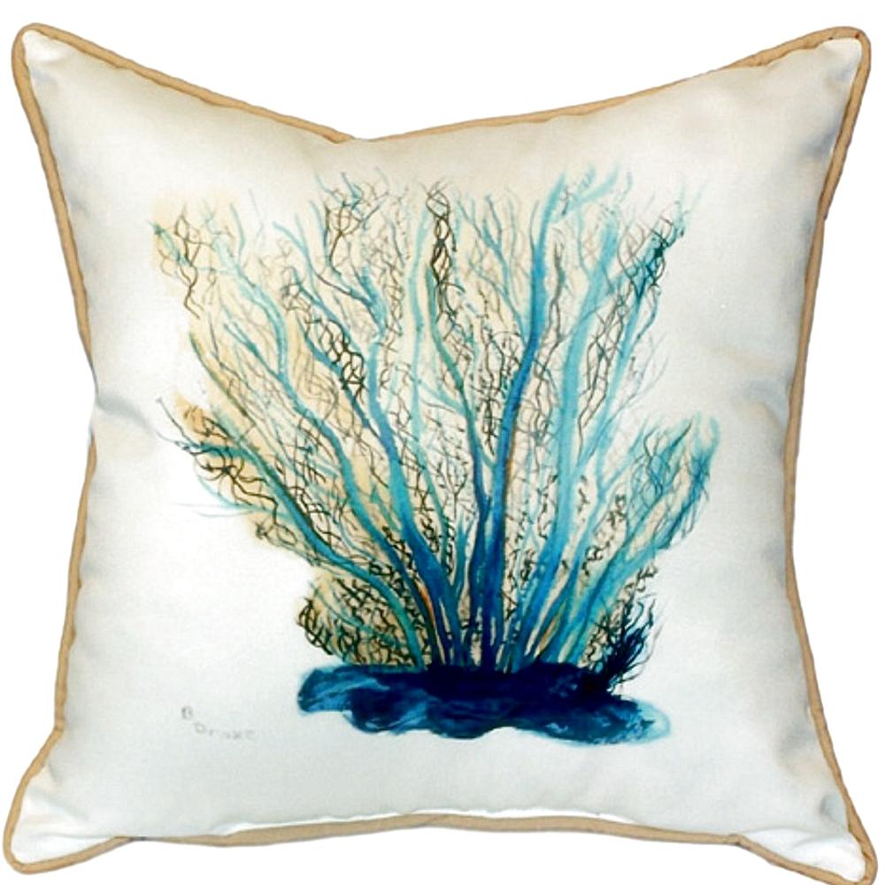 Blue Coral Indoor Outdoor Pillow 22x22 | Betsy Drake | BDZP703