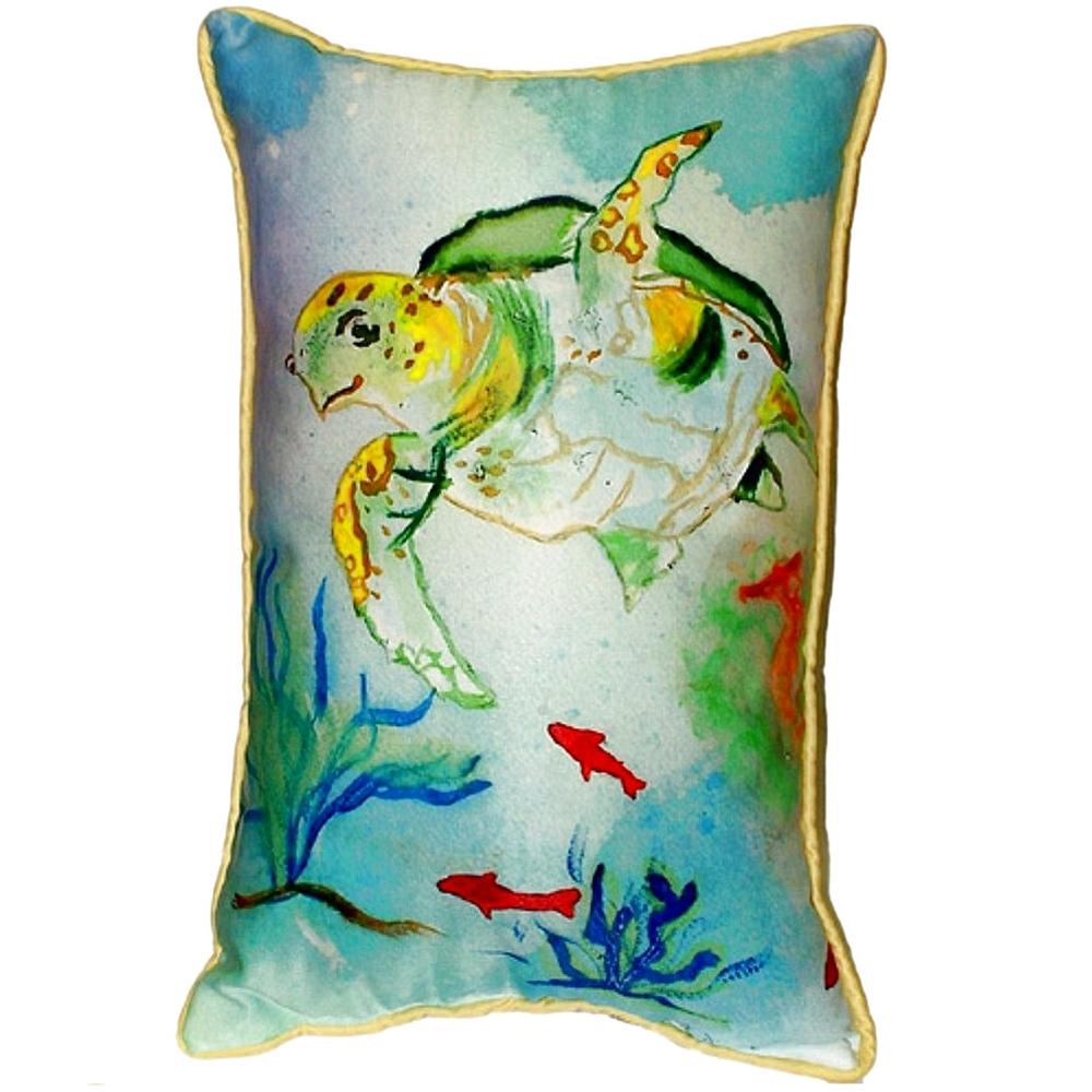 Sea Turtle Multicolor Indoor Outdoor Pillow 20x24 | Betsy Drake | BDZP098