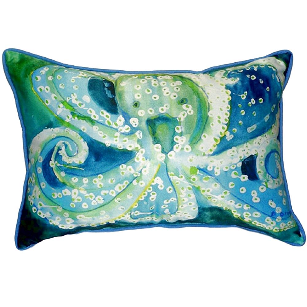 Blue Green Octopus Indoor Outdoor Pillow 20x24 | Betsy Drake | BDZP900