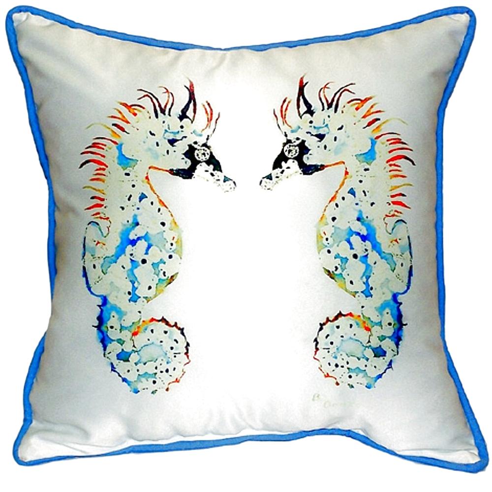 Seahorse Pair Indoor Outdoor Pillow 22x22 | Betsy Drake | BDZP388