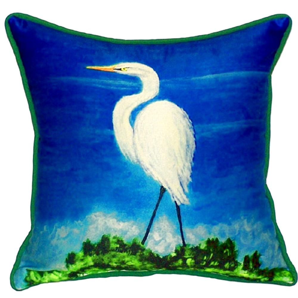 Great Egret Indoor Outdoor Pillow 22x22 | Betsy Drake | BDZP325