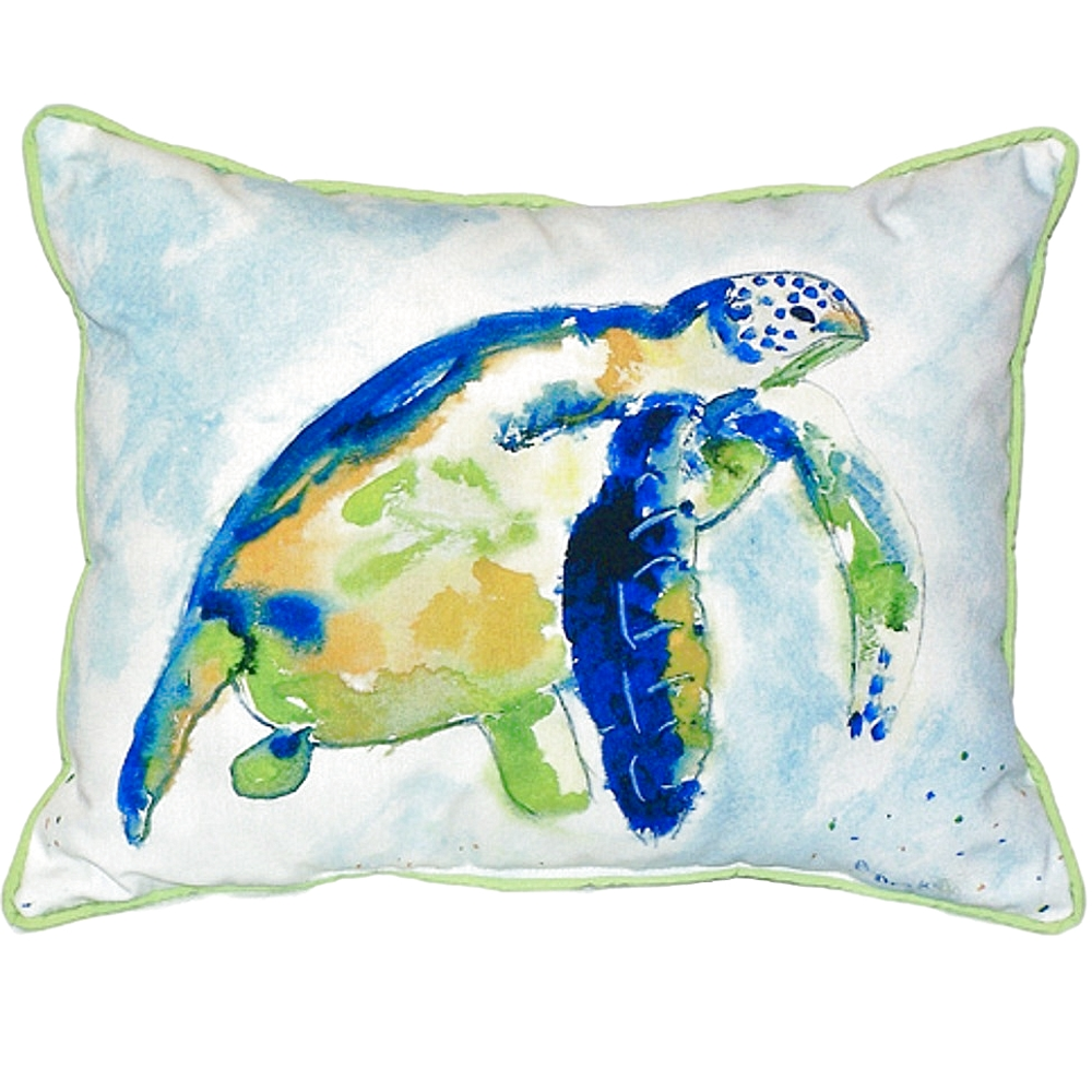 Blue Sea Turtle Indoor Outdoor Pillow 20x24 | Betsy Drake | BDZP134