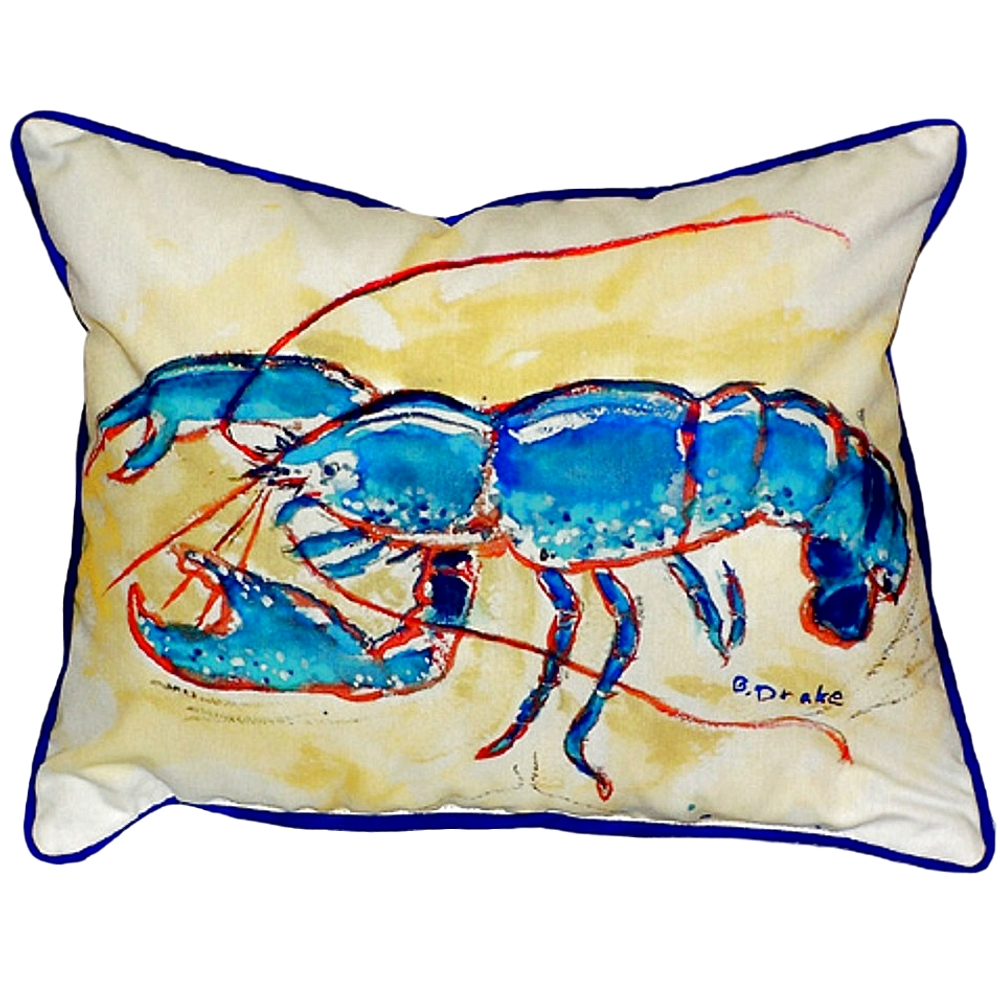 Blue Lobster Indoor Outdoor Pillow 20x24 | Betsy Drake | BDZP381