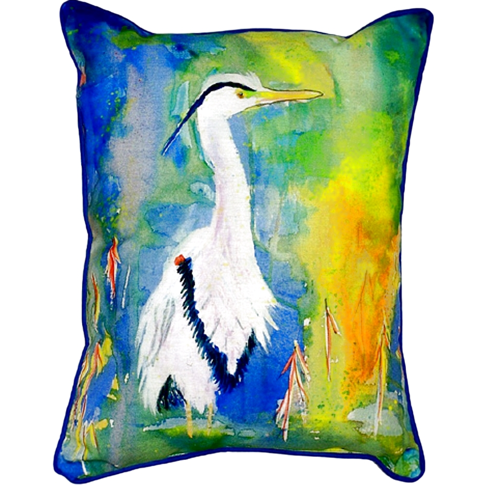 Blue Heron Scene Indoor Outdoor Pillow 20x24 | Betsy Drake | BDZP329