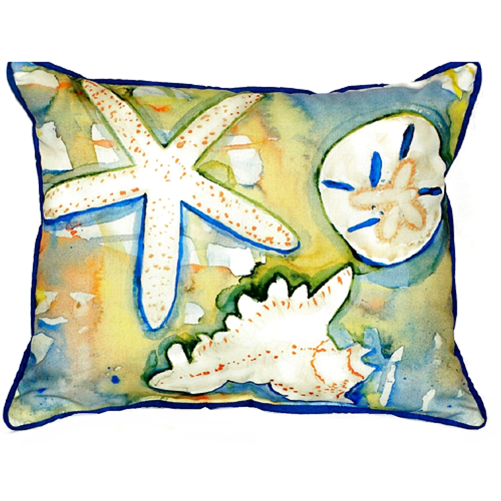 Beach Treasures Indoor Outdoor Pillow 20x24   Betsy Drake   BDZP603