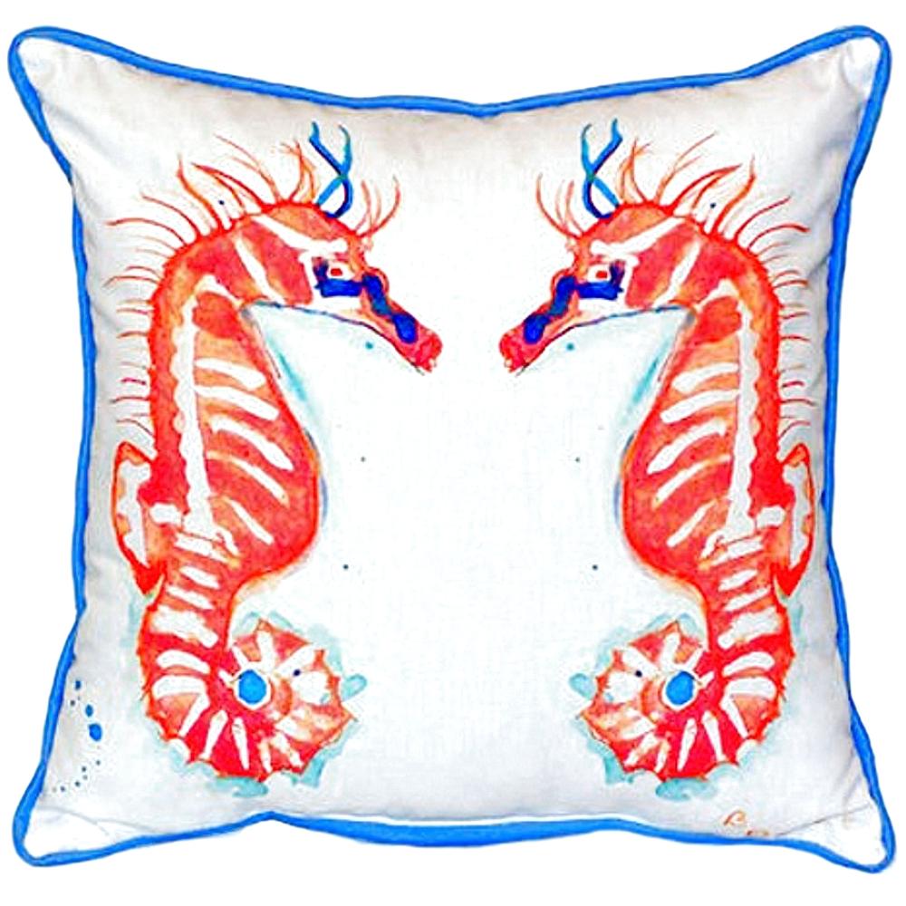 Coral Seahorse Pair Indoor Outdoor Pillow 22x22 | Betsy Drake | BDZP100