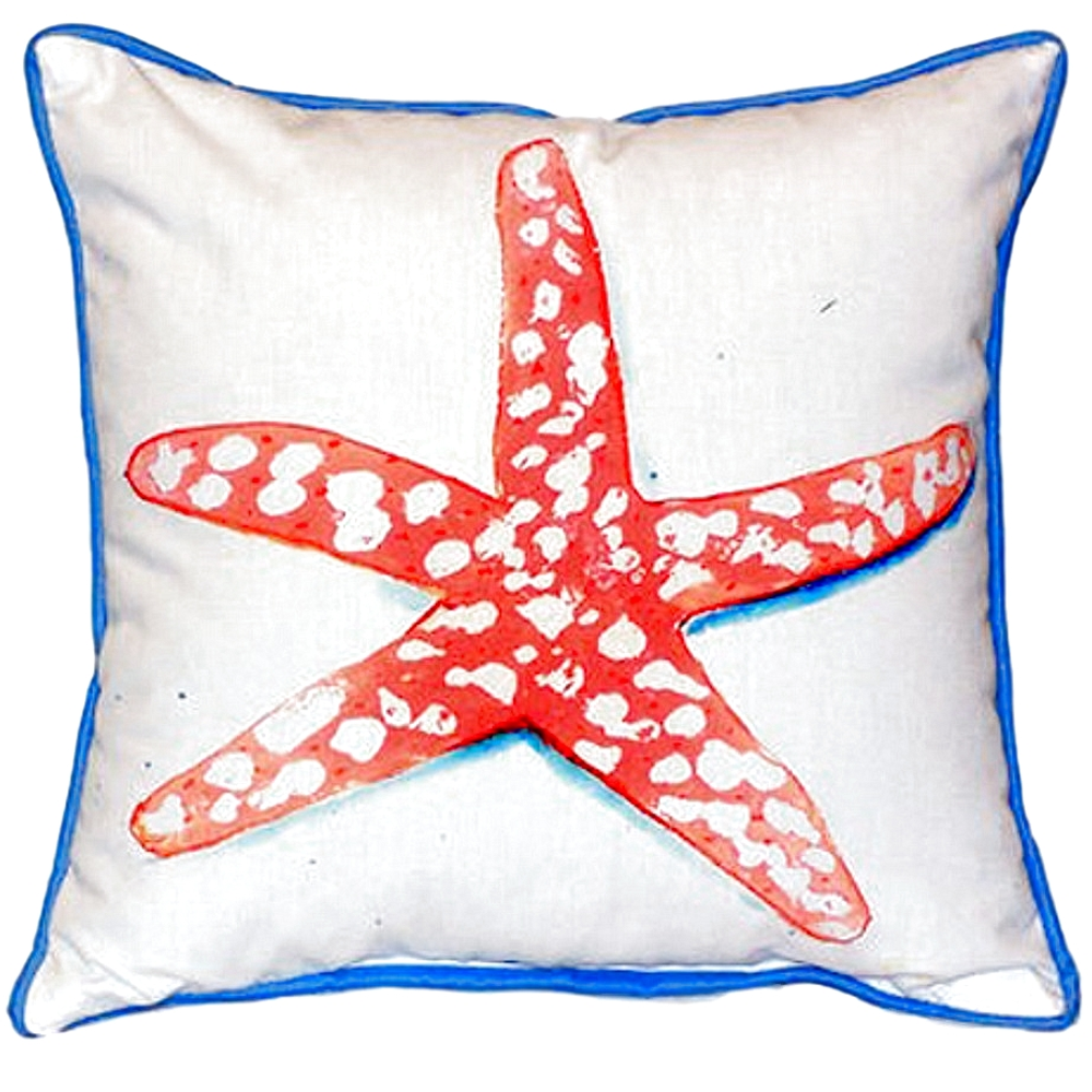 Coral Starfish Indoor Outdoor Pillow 22x22 | Betsy Drake | BDZP091