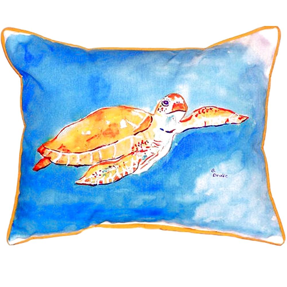 Brown Sea Turtle Indoor Outdoor Pillow 20x24   Betsy Drake   BDZP156