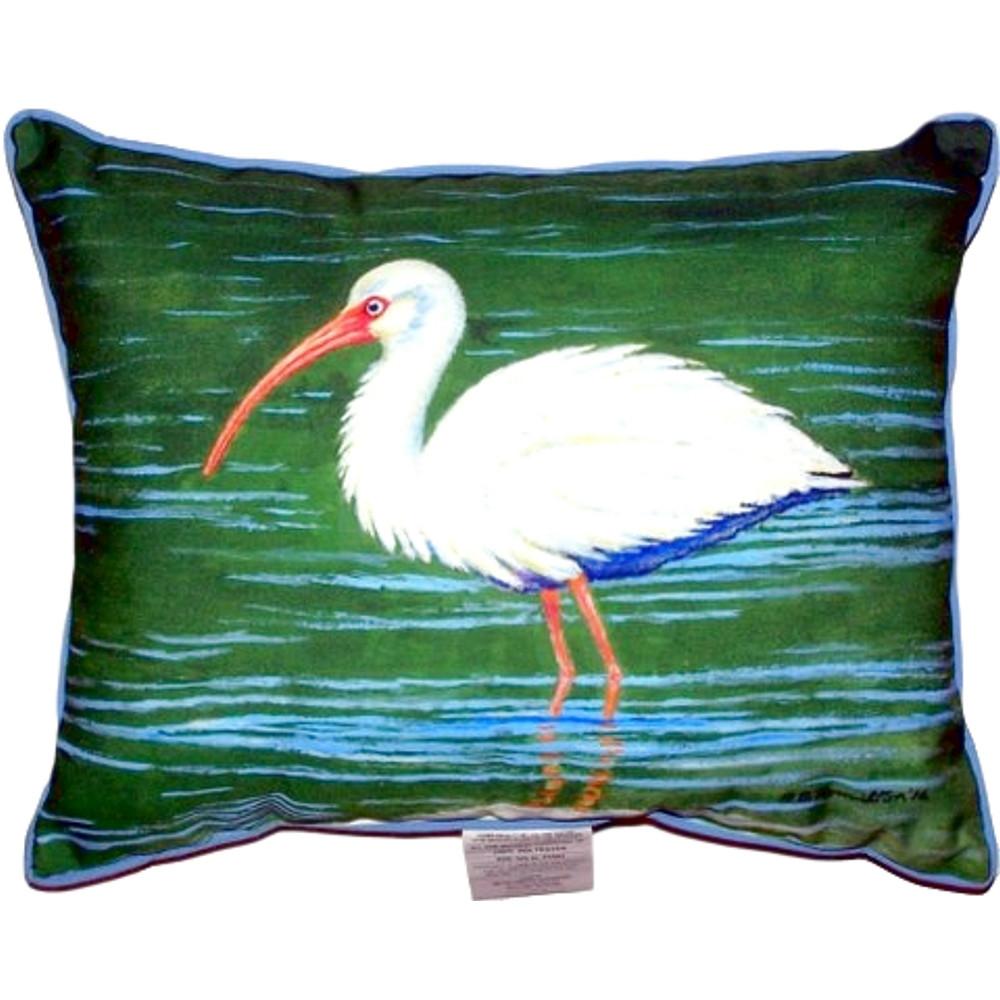 White Ibis Wading Indoor Outdoor Pillow 20x24 | Betsy Drake | BDZP378