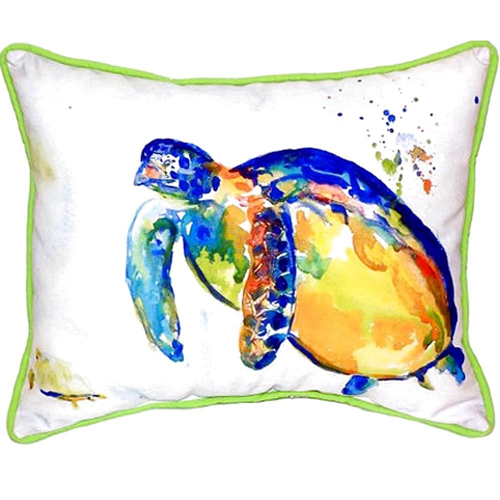 Blue Sea Turtle II Indoor Outdoor Pillow 20x24 | Betsy Drake | BDZP517