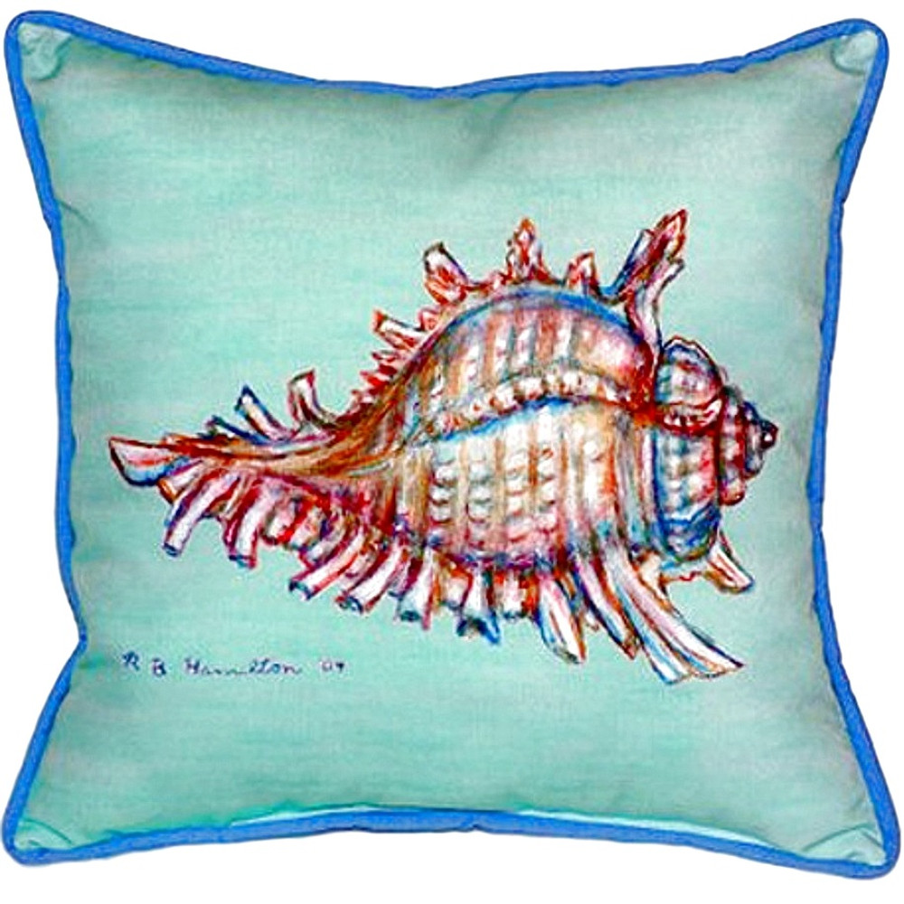 Conch Shell Teal Indoor Outdoor Pillow 22x22 | Betsy Drake | BDZP094C