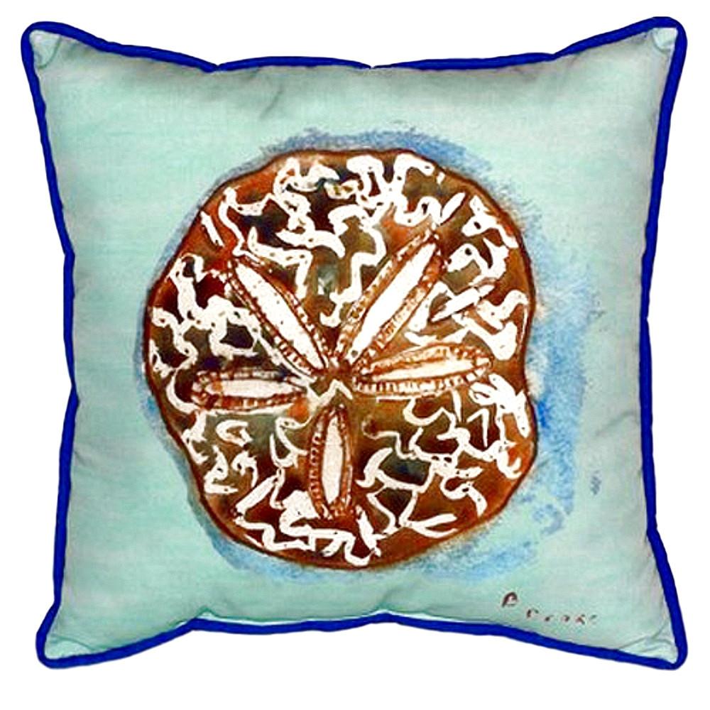 Sand Dollar Teal Indoor Outdoor Pillow 22x22   Betsy Drake   BDZP605C