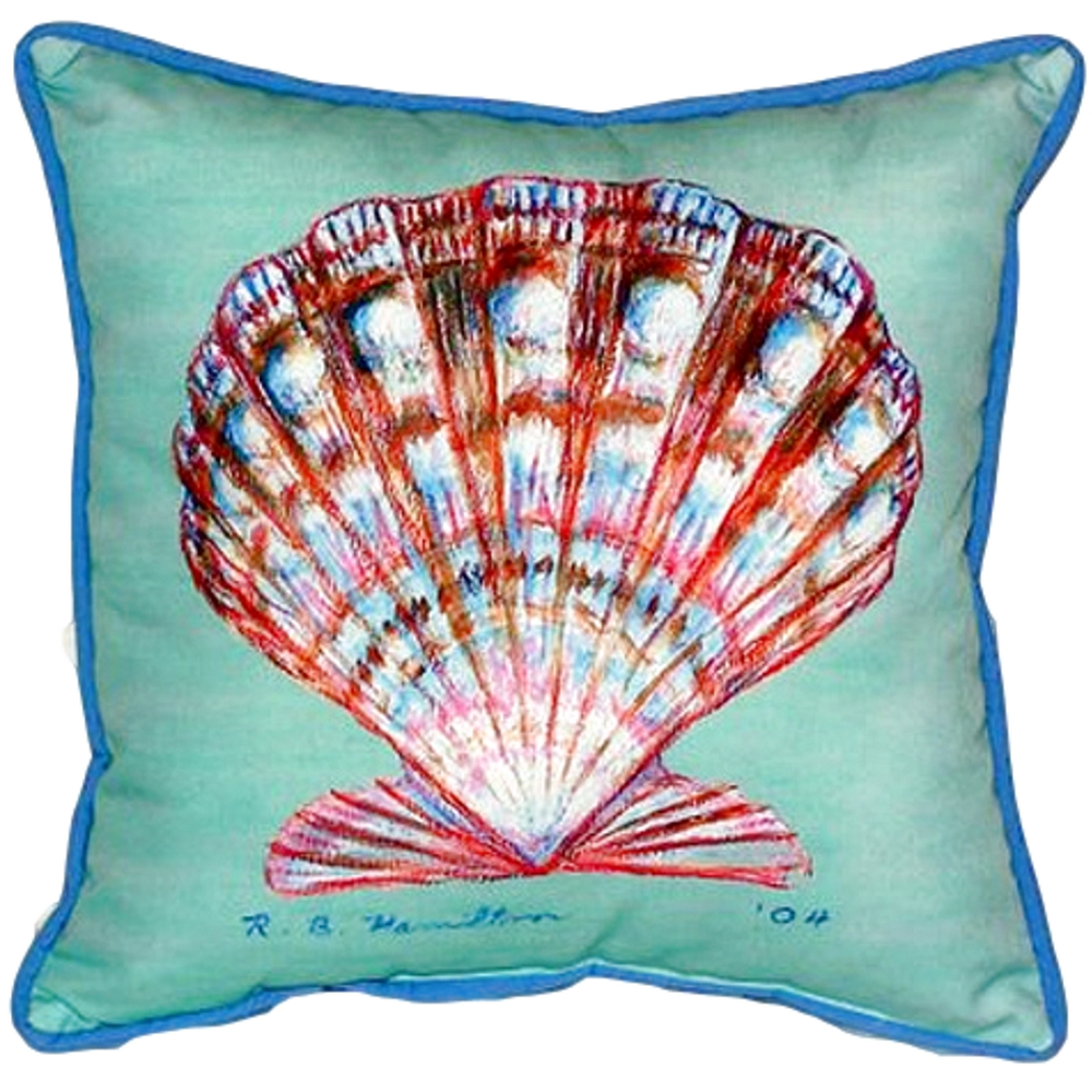 Scallop Shell Teal Indoor Outdoor Pillow 22x22 | Betsy Drake | BDZP112C