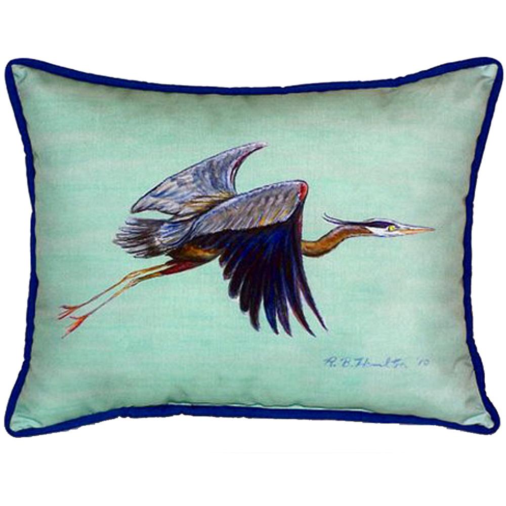 Flying Heron Teal Indoor Outdoor Pillow 20x24 | Betsy Drake | BDZP327C