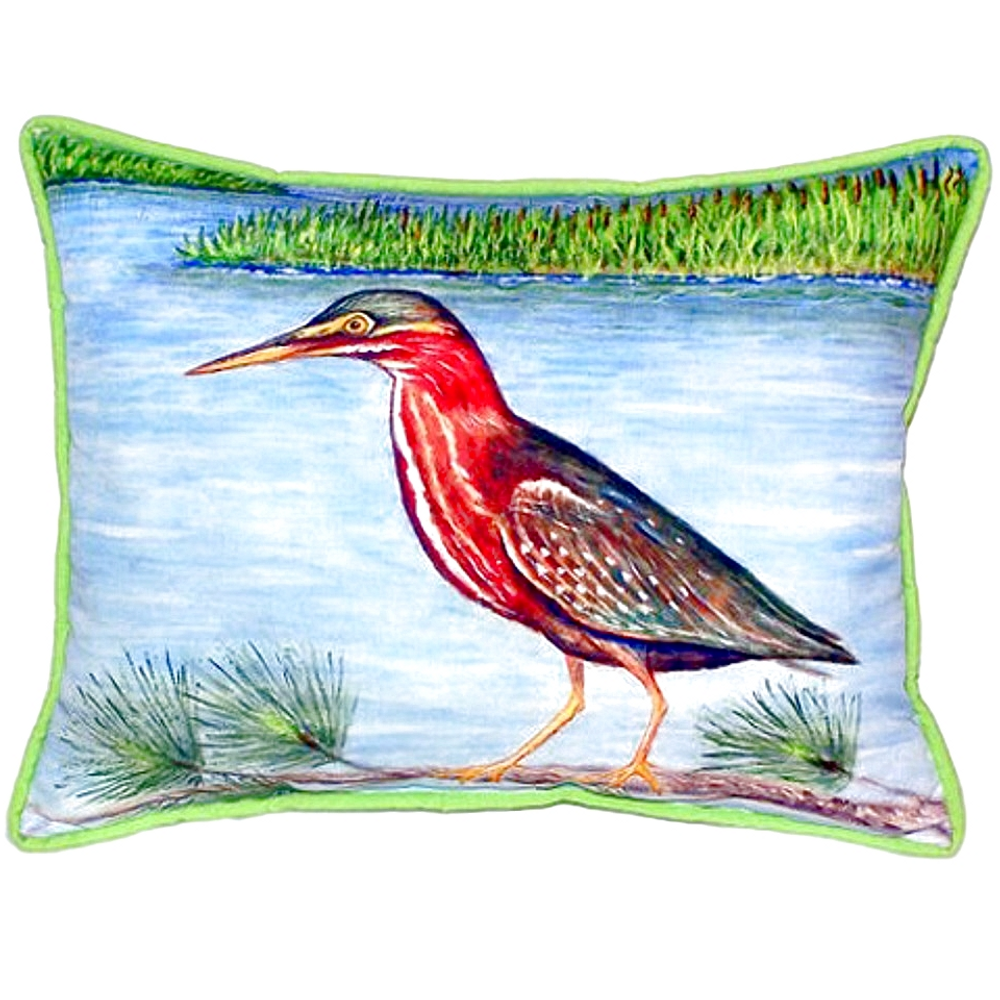 Green Heron Indoor Outdoor Pillow 20x24 | Betsy Drake | BDZP958