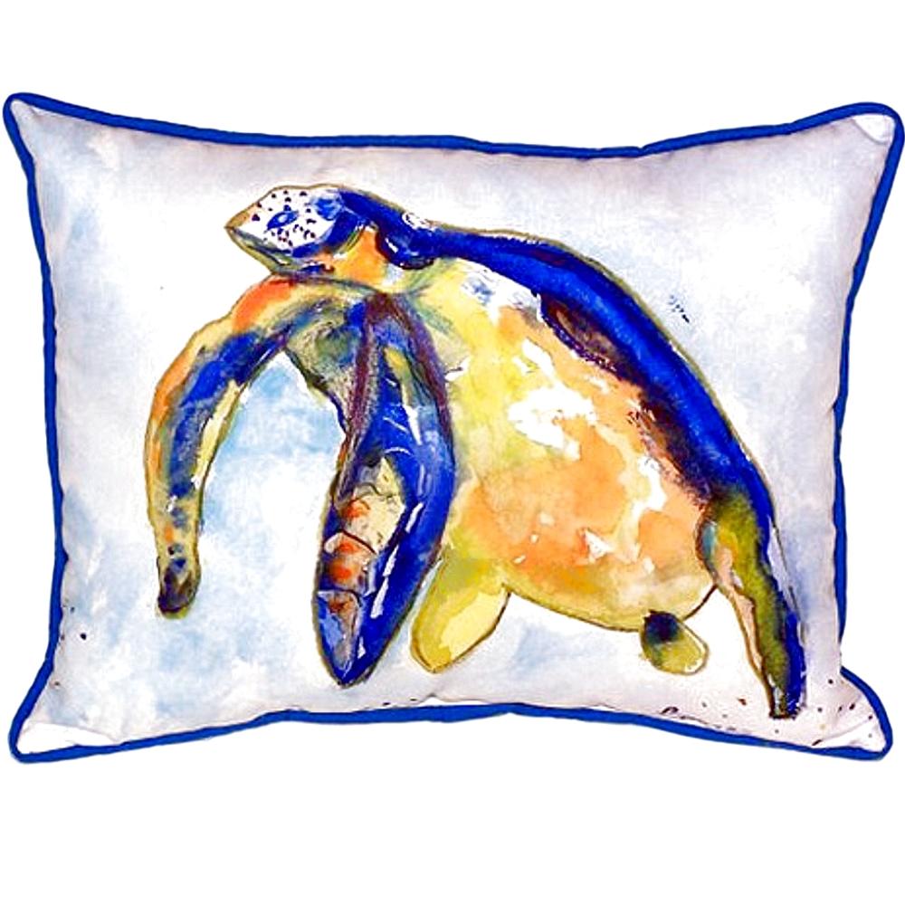 Blue Sea Turtle III Indoor Outdoor Pillow 20x24 | Betsy Drake | BDZP952