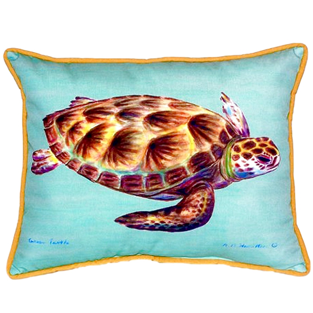 Green Sea Turtle Teal Indoor Outdoor Pillow 20x24   Betsy Drake   BDZP044C