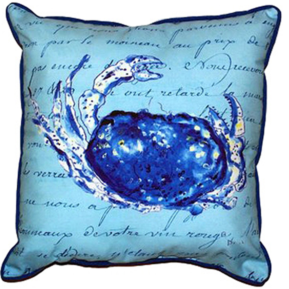 Crab French Blue Indoor Outdoor Pillow 22x22 | Betsy Drake | BDZP358