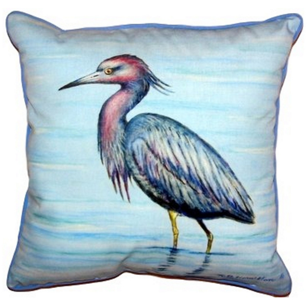 Little Blue Heron Indoor Outdoor Pillow 22x22 | Betsy Drake | BDZP492
