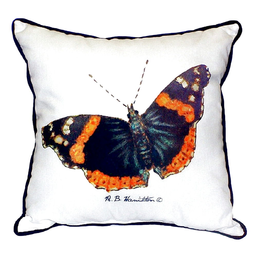Red Admiral Butterfly Indoor Outdoor Pillow 22x22   Betsy Drake   BDZP762