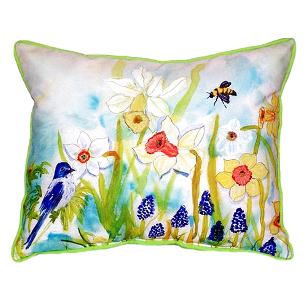 Bird and Daffodil Indoor Outdoor Pillow 20x24 | Betsy Drake | BDZP167