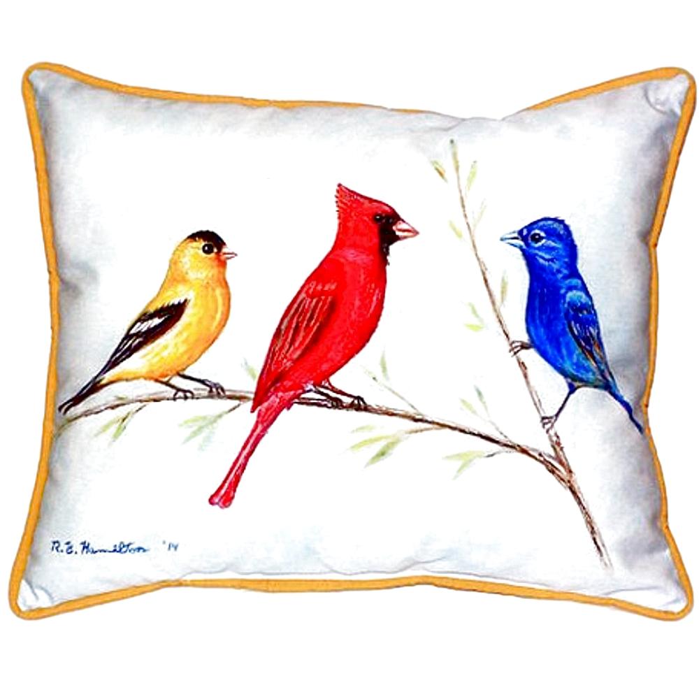 Bird Trio Indoor Outdoor Pillow 20x24 | Betsy Drake | BDZP298