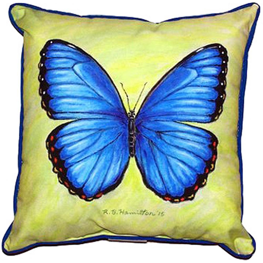 Blue Morpho Butterfly Indoor Outdoor Pillow 22x22 | Betsy Drake | BDZP348