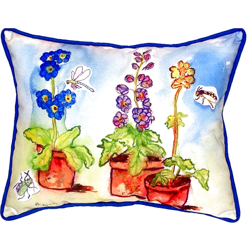 Potted Flowers Indoor Outdoor Pillow 20x24 | Betsy Drake | BDZP426
