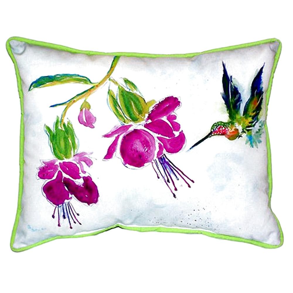 Hummingbird Purple Flower Indoor Outdoor Pillow 20x24 | Betsy Drake | BDZP940