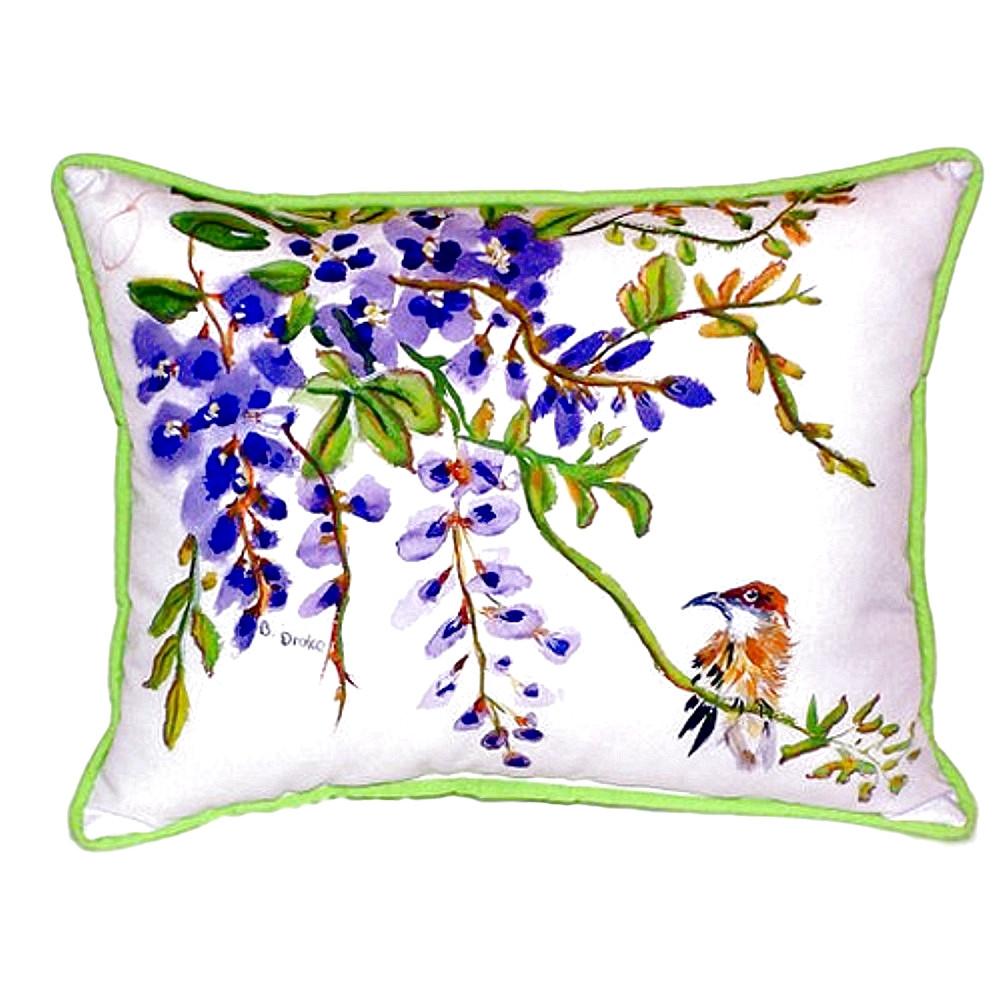 Wisteria and Bird Indoor Outdoor Pillow 20x24 | Betsy Drake | BDZP959